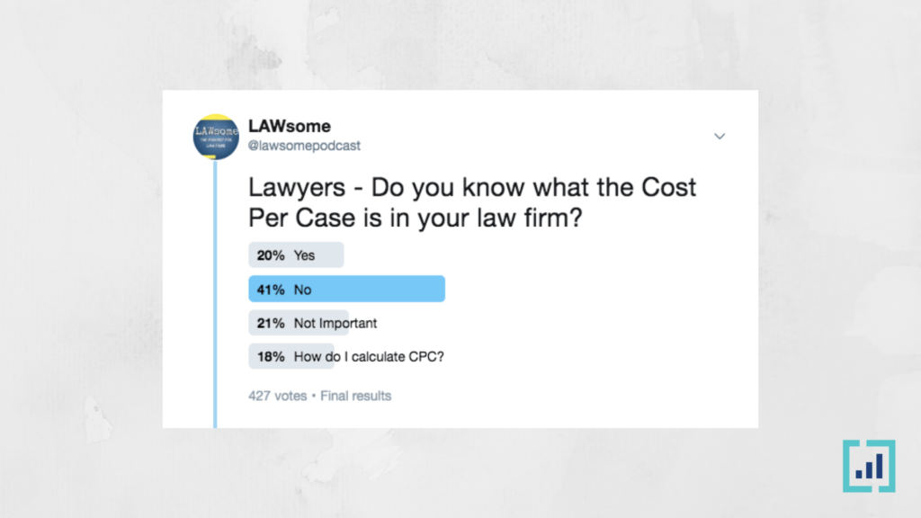 do you know what the cost per case is in your law firm?
