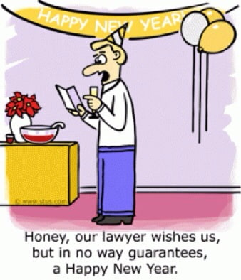 Comic - Honey, our lawyer wishes us, but in no way guarantees, a Happy New Year