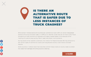 is there an alternative route that is safer due to less instances of truck crashes?