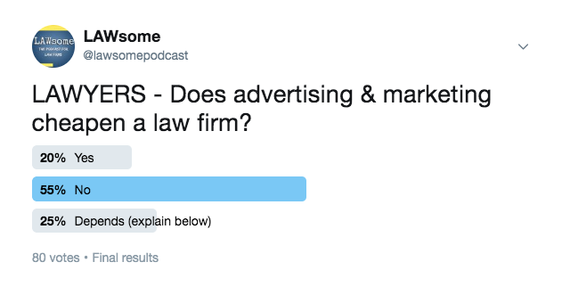 does advertising & marketing cheapen a law firm?
